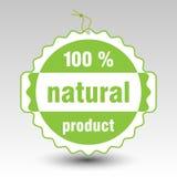 Vector groen 100% natuurlijk productdocument prijskaartjeetiket stock illustratie