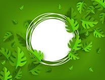 Vector groen van het bladerenkader malplaatje als achtergrond Stock Foto's