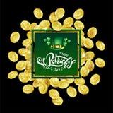 Vector Groen vierkant Reclamekader Verspreide gouden muntstukken die klaver met het van letters voorzien tekstst Patricks Dag afs royalty-vrije illustratie