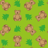 Vector groene achtergrond met beren en sparren Stock Afbeelding