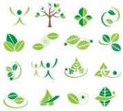 Vector groene bladeren logotype pictogrammen, ecologieontwerpen Royalty-vrije Stock Foto's