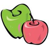 Vector groene en roze appelen in vereenvoudigde tekening royalty-vrije illustratie