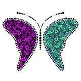 Vector groene en roze sier decoratieve illustratie van vlinder Stock Fotografie