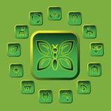 Vector groene geplaatste ecopictogrammen Stock Afbeelding