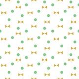 Vector groene punten en gouden bogen naadloos patroon Stock Foto's