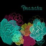 Vector groetkaart met bloemen. Stock Afbeelding