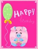 Vector groetkaart met een roze varken Royalty-vrije Stock Foto's