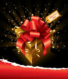 Vector groetkaart met gift en exemplaarruimte Stock Afbeelding