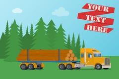 Vector grote hout houten vrachtwagen die met logboeken wordt geladen Stock Foto