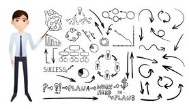 Vector Grote Reeks Bedrijfshand Getrokken die Krabbelelementen op Witte Achtergrond, Zwarte Tekeningen en Beeldverhaalzakenman wo royalty-vrije illustratie