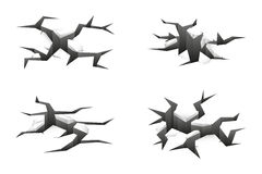 Vector ground cracks. Vector 3d ground cracks on white background Royalty Free Stock Photography
