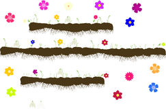Vector with ground with roots, grass with flowers Royalty Free Stock Photos