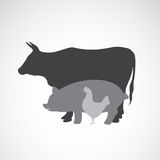 Vector group of animal farm label Stock Images