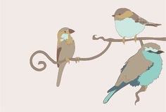 Vector Group of Birds. Nature Vector illustration of three birds. EAch bird is on its own layer. Very easy to edit and change colors Stock Image