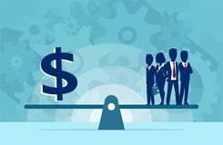 Vector of group of businesspeople human resources or money on the scale. Business concept stock illustration