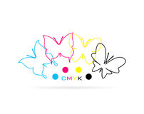Vector group of butterfly colored cmyk print Royalty Free Stock Image