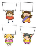 Vector group of children holding blank. Royalty Free Stock Image