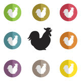 Vector group of cock Royalty Free Stock Photo