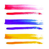 Vector group of colorful brush strokes on white background. Royalty Free Stock Photography