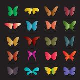 Vector group of colorful butterfly on black background. Royalty Free Stock Images