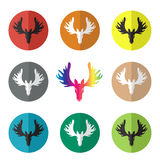 Vector group of deer head in the circle Stock Photos
