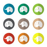 Vector group of elephant in the circle Stock Photos