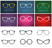 Vector group of an glasses design. Royalty Free Stock Photos