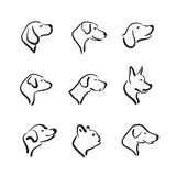 Vector group of hand drawn dog head on white background. Pet. Animals Stock Photography