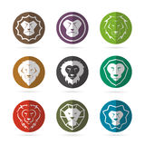 Vector group of lion face in the circle Royalty Free Stock Images