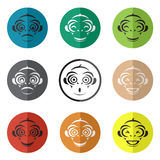 Vector group of monkey face in the circle Stock Images
