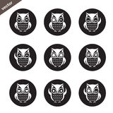 Vector group of owl in the circle Royalty Free Stock Image