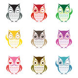 Vector group of owl Royalty Free Stock Photography