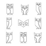 Vector group of owls Royalty Free Stock Photography