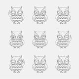 Vector group of owls Stock Photography