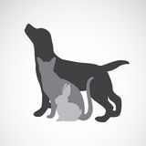 Vector group of pets - Dog, cat, rabbit Stock Images