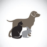 Vector group of pets - Dog, Cat, Rabbit. Royalty Free Stock Photography