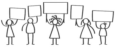 Vector group of protesting stick figures, men and women standing and holding up blank boards. Isolated on white background Stock Photography
