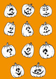 Vector group of pumpkins for halloween Stock Photo
