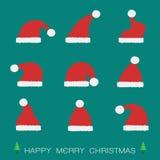 Vector group of santa hat Royalty Free Stock Photography