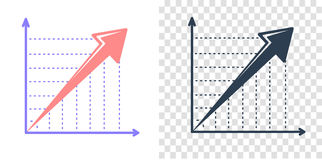 Vector growing graph icon Royalty Free Stock Photography
