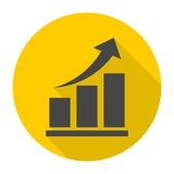 Vector growing graph icon with long shadow Royalty Free Stock Photos