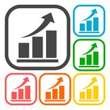 Vector growing graph icons set Stock Image