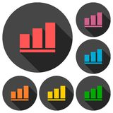 Vector growing graph icons set with long shadow Royalty Free Stock Images