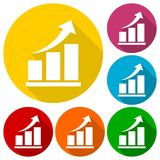 Vector growing graph icons set with long shadow Stock Photography