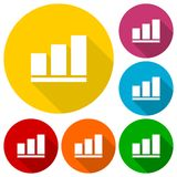 Vector growing graph icons set with long shadow Royalty Free Stock Image