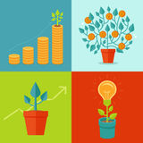 Vector growth concepts in flat style Royalty Free Stock Image