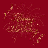 Vector Grußkarte alles Gute zum Geburtstag, Beschriftung, Kalligraphie auf einem dunkelroten Hintergrund Lizenzfreies Stockbild