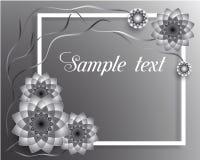 Vector Grußkarte der Illustration 3D mit silbernen geometrischen Blumen lizenzfreie stockfotos