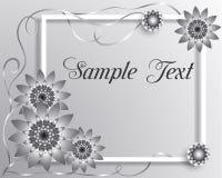 Vector Grußkarte der Illustration 3D mit silbernen geometrischen Blumen lizenzfreies stockfoto