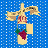 Vector Grußkarte 2016 der Weinlese der neuen Jahre Retro- Lizenzfreie Stockbilder